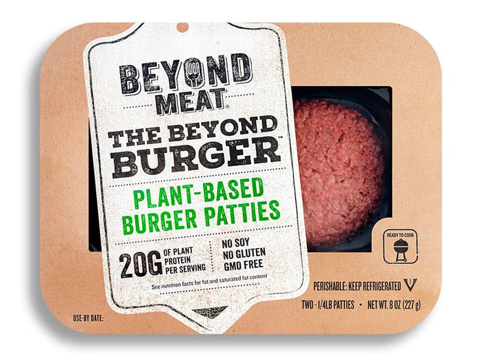 Beyond Meat plant-based burger patties packaged for retail sale.
