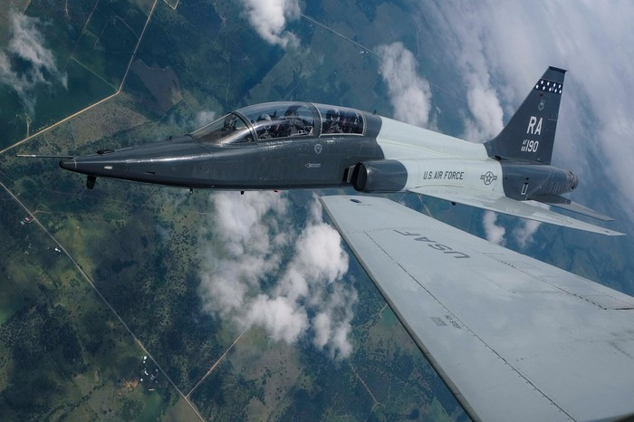 The T-38 Talon in flight.