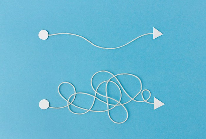 A simple line and a complex, tangled line.