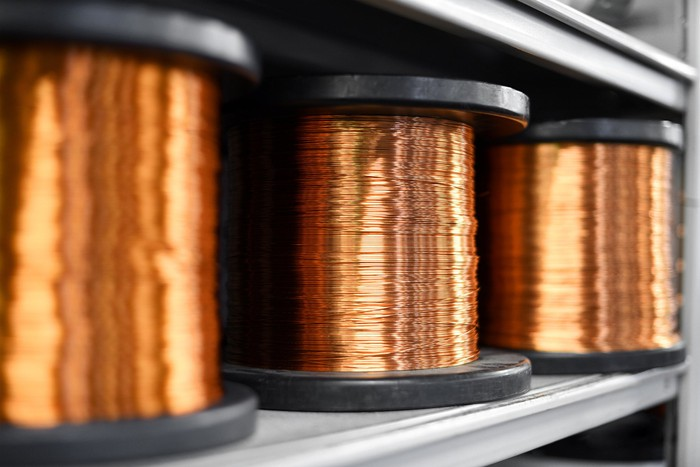 Several coils of copper wire.