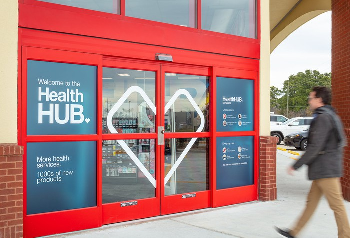 The exterior of a CVS with HealthHUB.