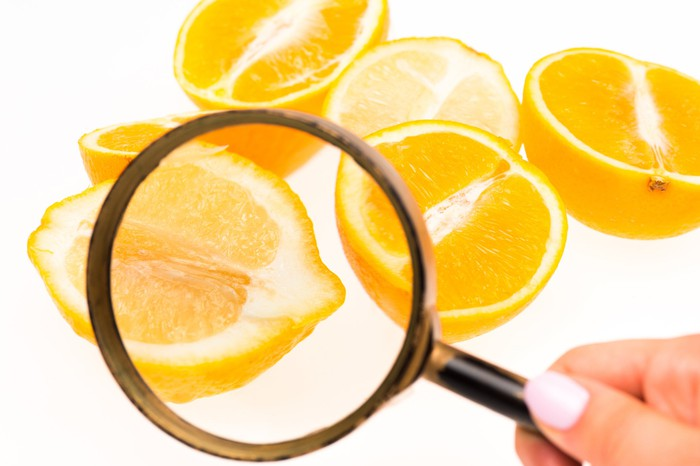 Lemon halves under a magnifying glass.