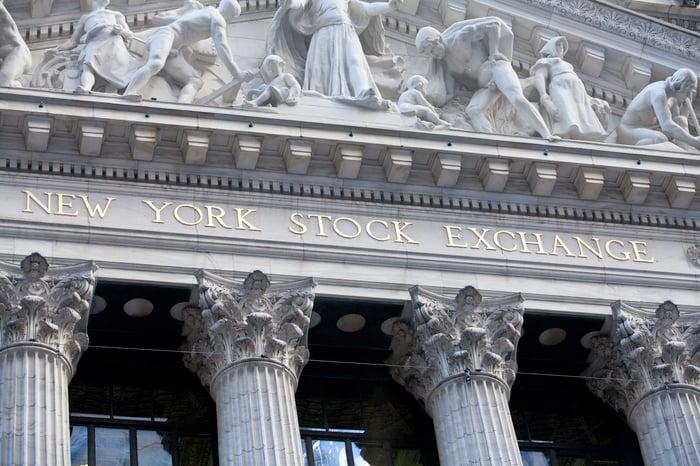 Exterior of the New York Stock Exchange.