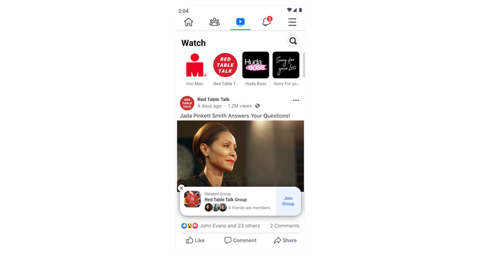 Facebook Watch on mobile.