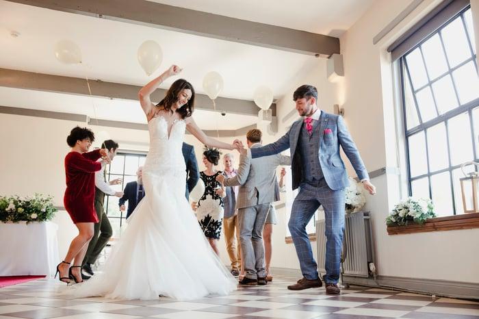 A couple dances at a wedding.