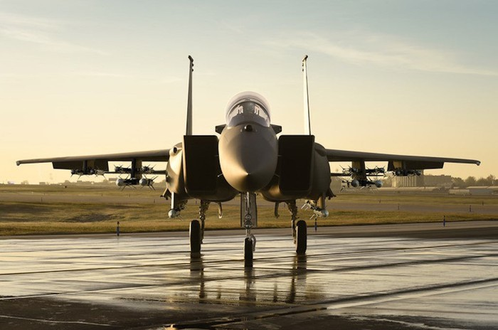 Boeing F-15 parked at airfield.