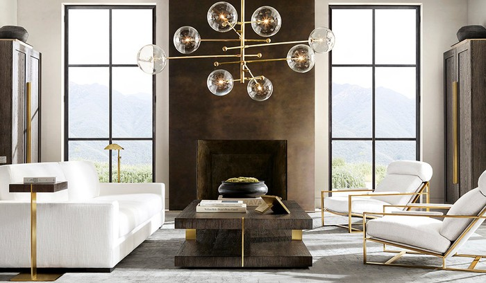 Contemporary room decorated with various Restoration Hardware products.