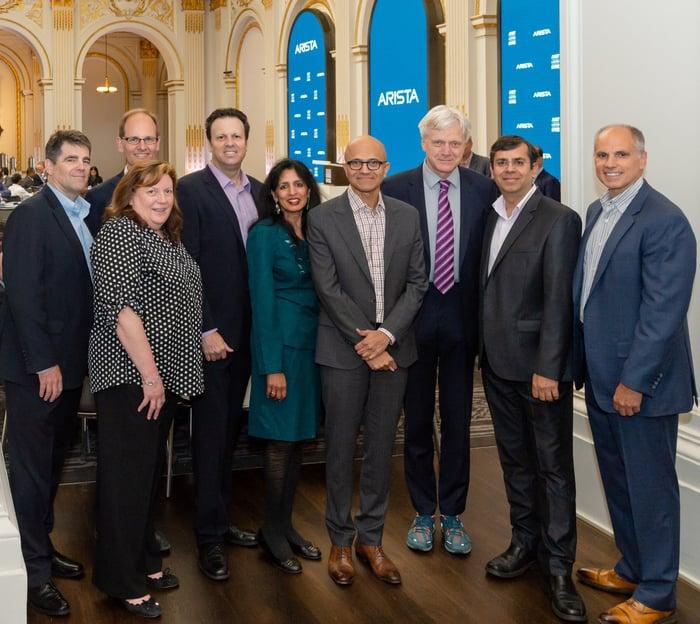 Arista's management team at the NYSE with Microsoft CEO Satya Nadella.