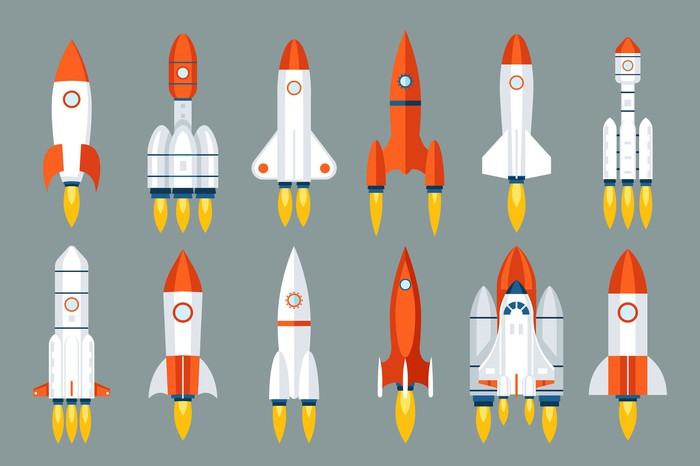 A dozen colorful spacecraft of assorted shapes and sizes