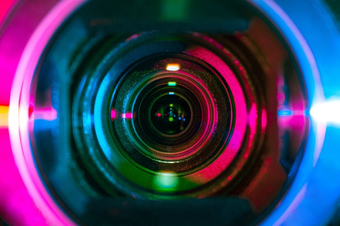 A close-up shot of a camera lens.