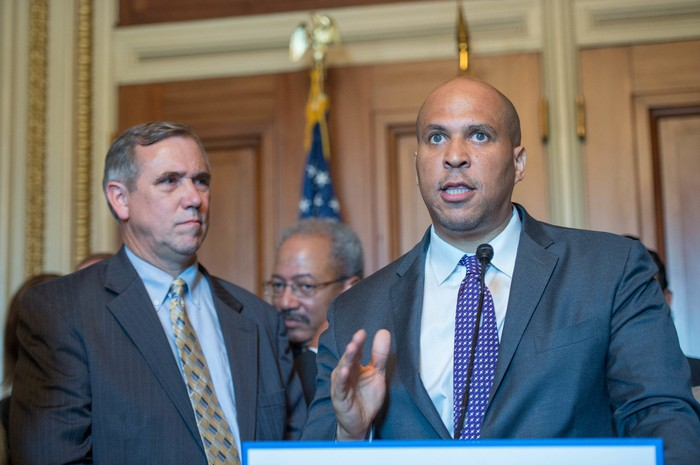 New Jersey Sen. Cory Booker speaking at a press conference.
