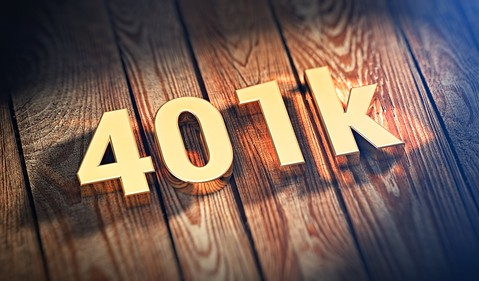 401k gold letters on wood planks