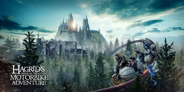 Concept art for Hagrid's Magical Creatures Motorbike Adventure roller coaster.