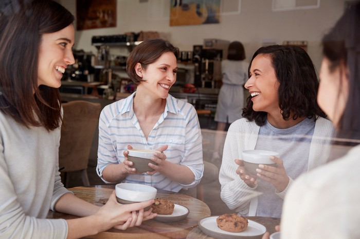 Group of women having coffee.