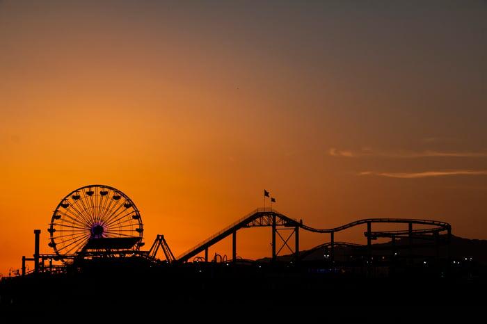 Theme park at dusk.