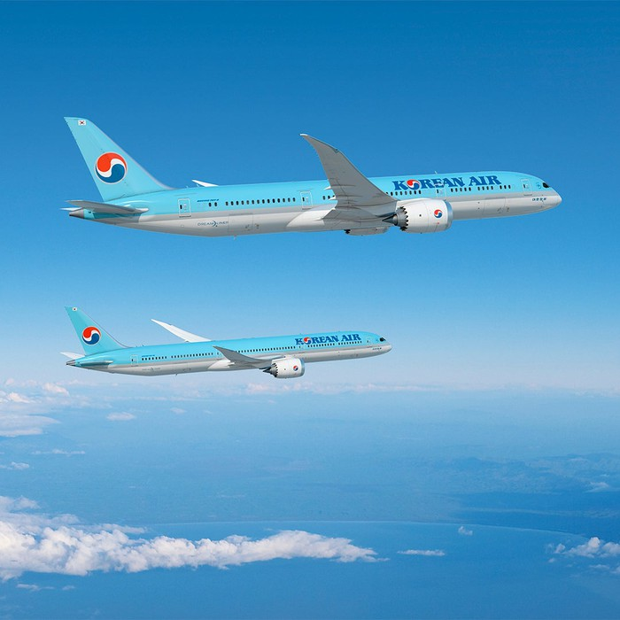 A rendering of Boeing 787-9 and 787-10 jets in the Korean Air Lines livery