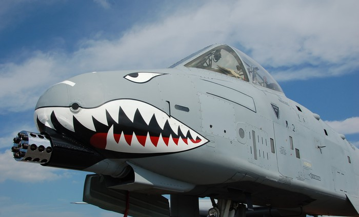 Close-up of A-10 featuring a big cannon and painted shark teeth