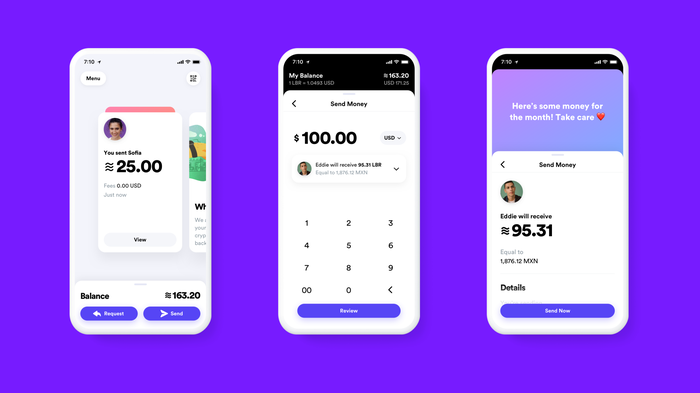 Three mock-ups of the Calibra digital wallet app.