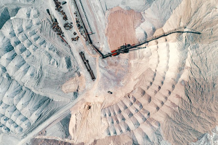 A bird's-eye view of a sand mine.