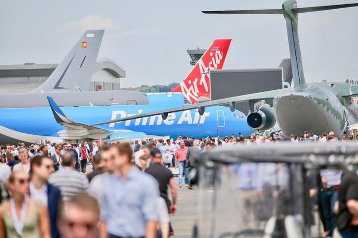 Amazon Air cargo plane at the Paris Air Show.