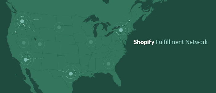 An illustrated map of the U.S. with dots placed intermittently showing the location of fulfillment centers.