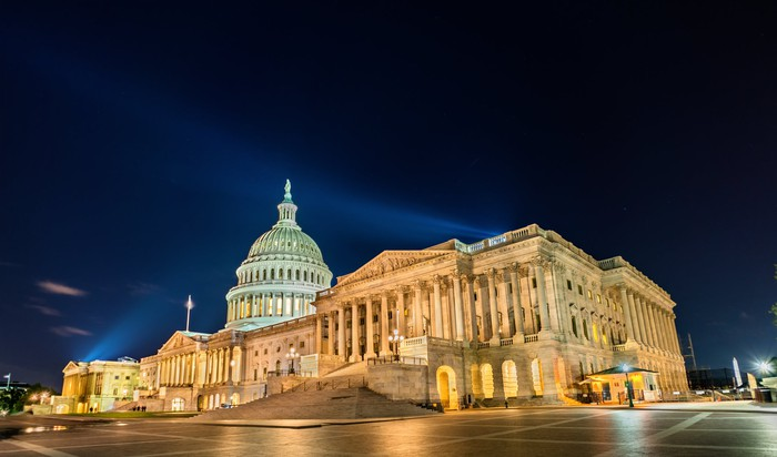 U.S. Capitol building at night.