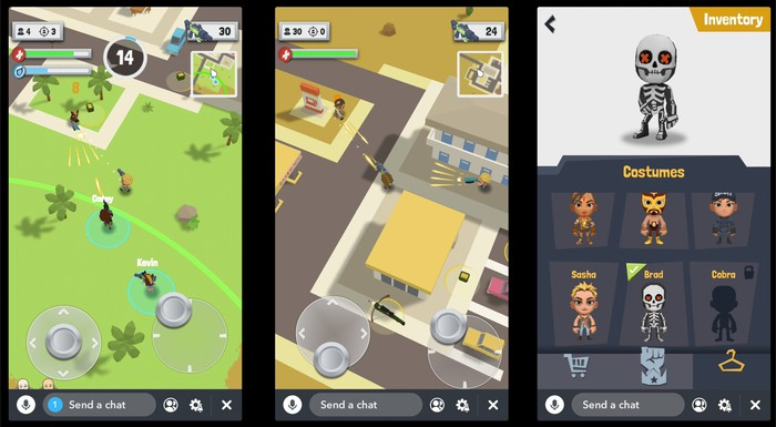 """Tiny Royale"" gameplay screens."