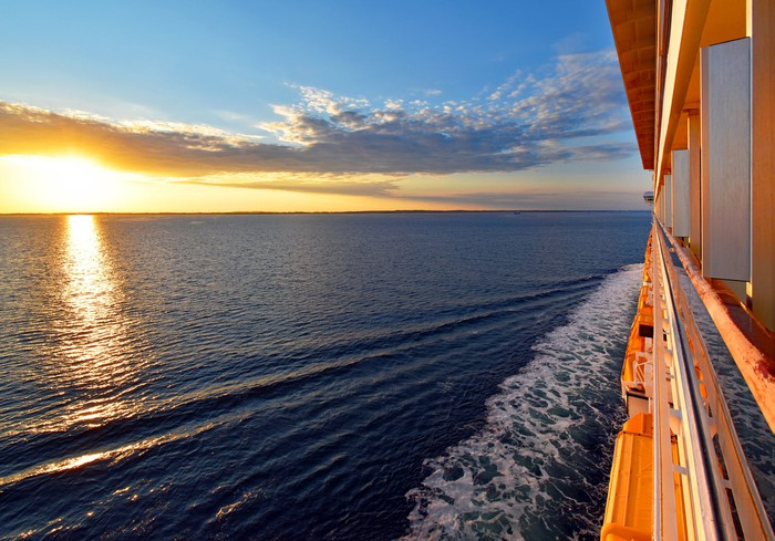 Sunset as seen from the window of a cruise ship.