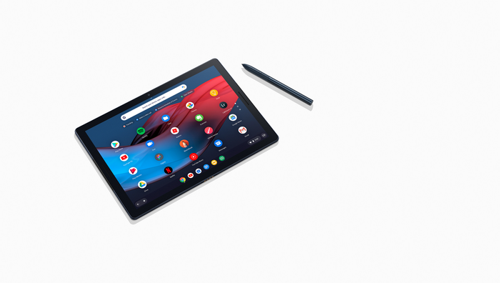 Pixel Slate on a white background next to a stylus