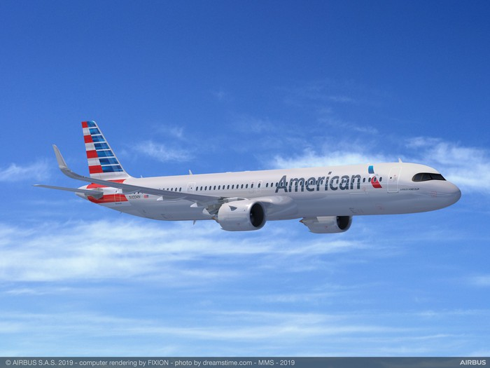 A rendering of an Airbus A321XLR in the American Airlines livery.