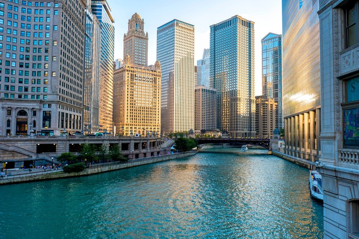 A view of the Chicago skyline from the Chicago River.