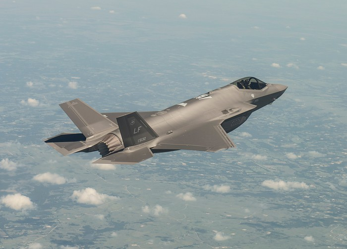An F-35 in flight.