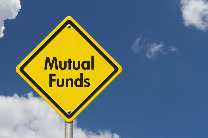 A yellow road reading Mutual Funds with a partly cloudy sky in the background