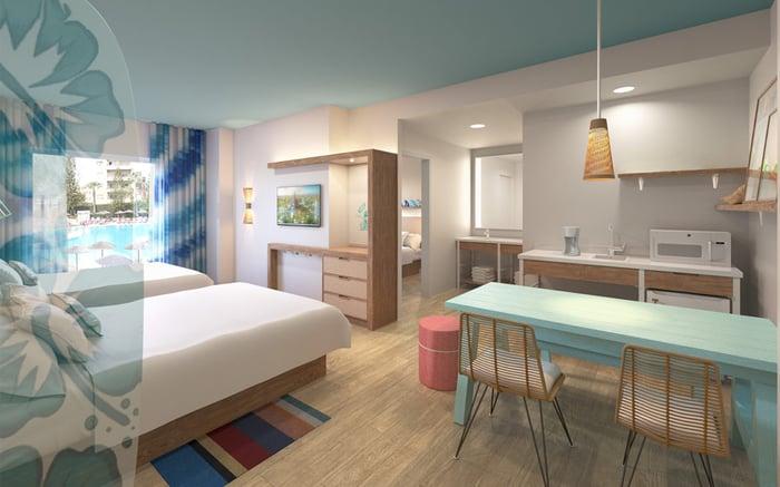 Interior of a room at Universal's Endless Summer resort.