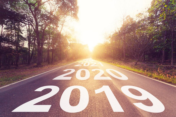 2019, 2020, and 2021 overlaid on a road.