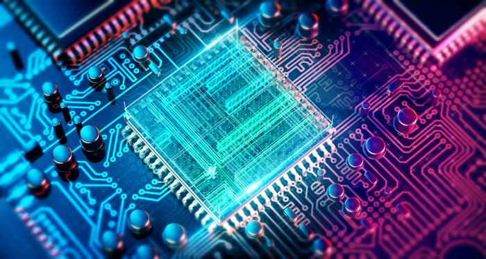 A computer circuit board close up.