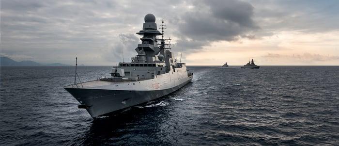 FREMM-class frigate at sea