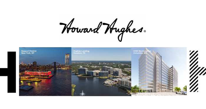 Howard Hughes signature with three commercial properties in a row below.