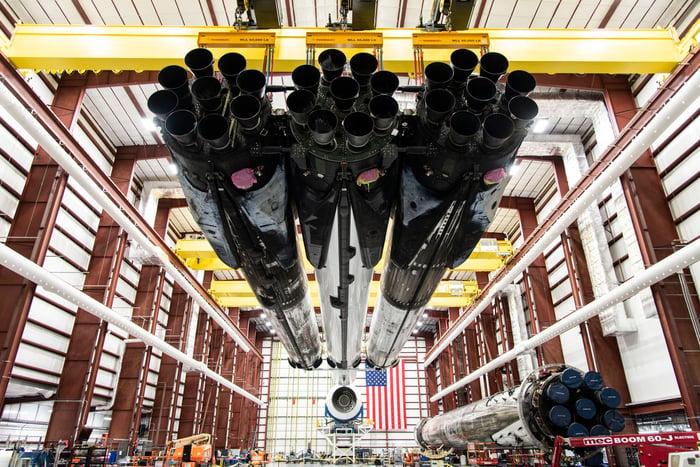 Falcon Heavy rocket in its hangar, pre-launch