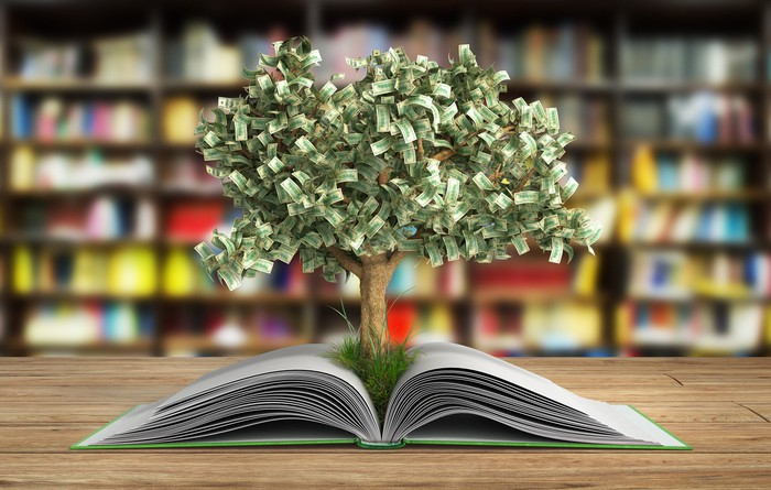 A tree with money for leaves growing out of a book