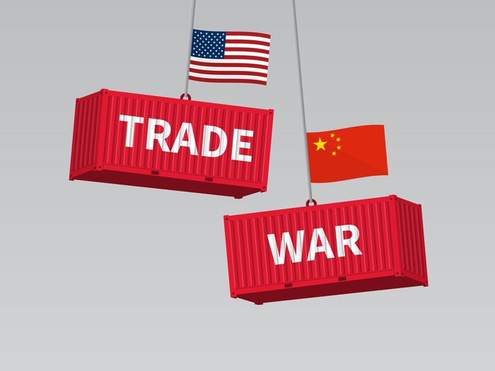 Cargo containers read trade war and carry American and Chinese flags