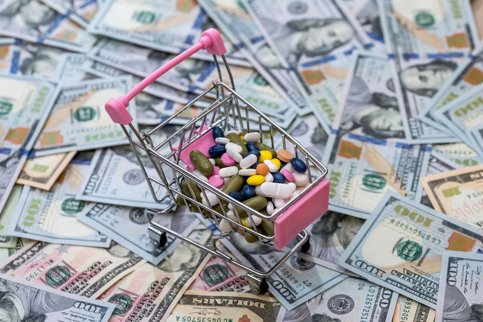 A miniature shopping cart loaded with various pills sitting on top of a stack of hundred-dollar bills.