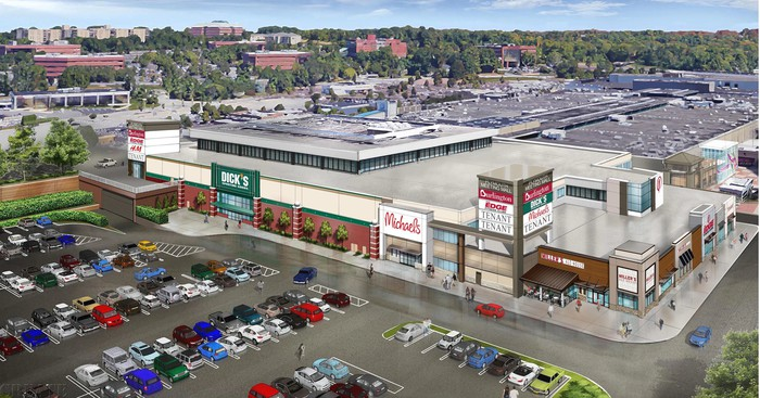 A rendering of the exterior of the redeveloped Plymouth Meeting Mall.