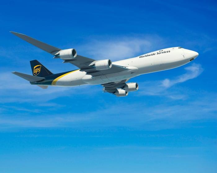 A UPS Boeing 747 cargo plane in flight.
