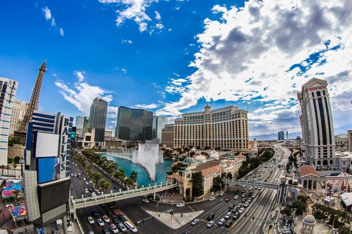 Panoramic view of the Las Vegas Strip.