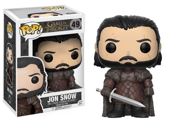 Two versions of a Jon Snow Game of Thrones Funko Pop vinyl figurine, boxed and unboxed.