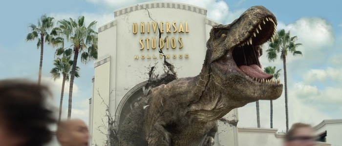 A T-Rex busting through the Universal Studios Hollywood entrance.