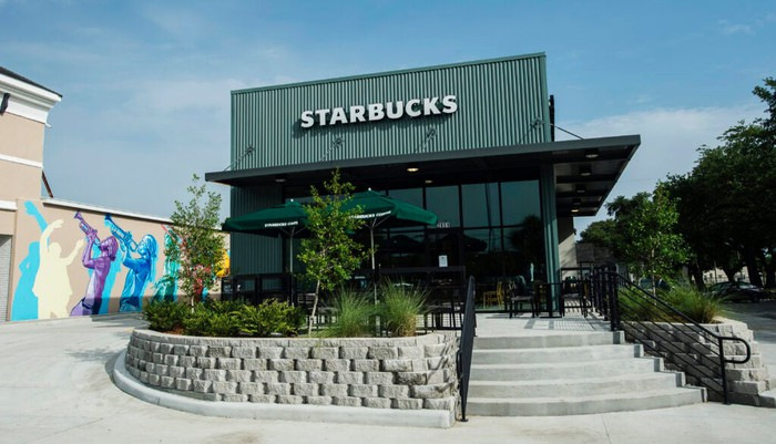 Exterior shot of a Starbucks store in New Orleans.