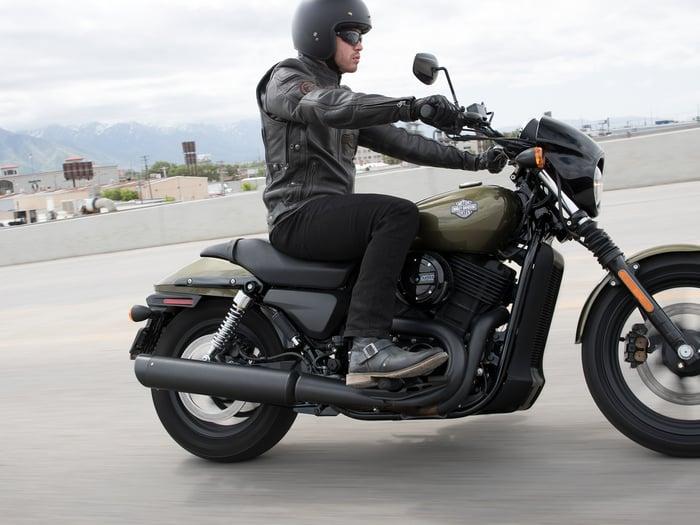 Man riding Harley-Davidson Street 500