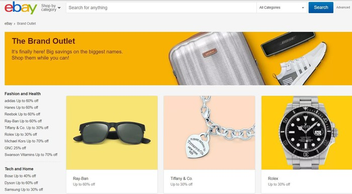 A screenshot of eBay's site The Brand Outlet showing various name-brand products at deep discounts.